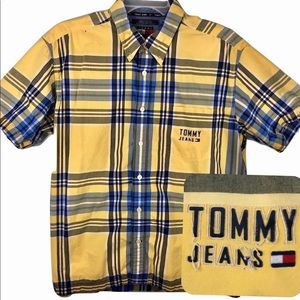 Tommy Jeans Vintage Spellout Shirt Yellow Mens XL